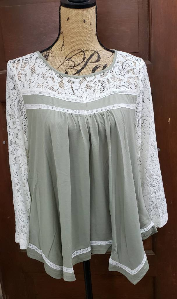 Sage Crochet Sleeve Blouse