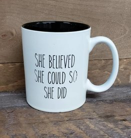 She believed She Could White Mug