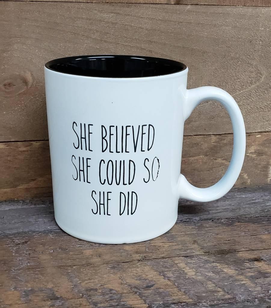 She believed She Could White Mug