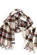 Stewart Plaid Scarf - White - Merino Wool