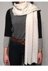 Kinross Cashmere Chashmere Cable Scarf in Ivory