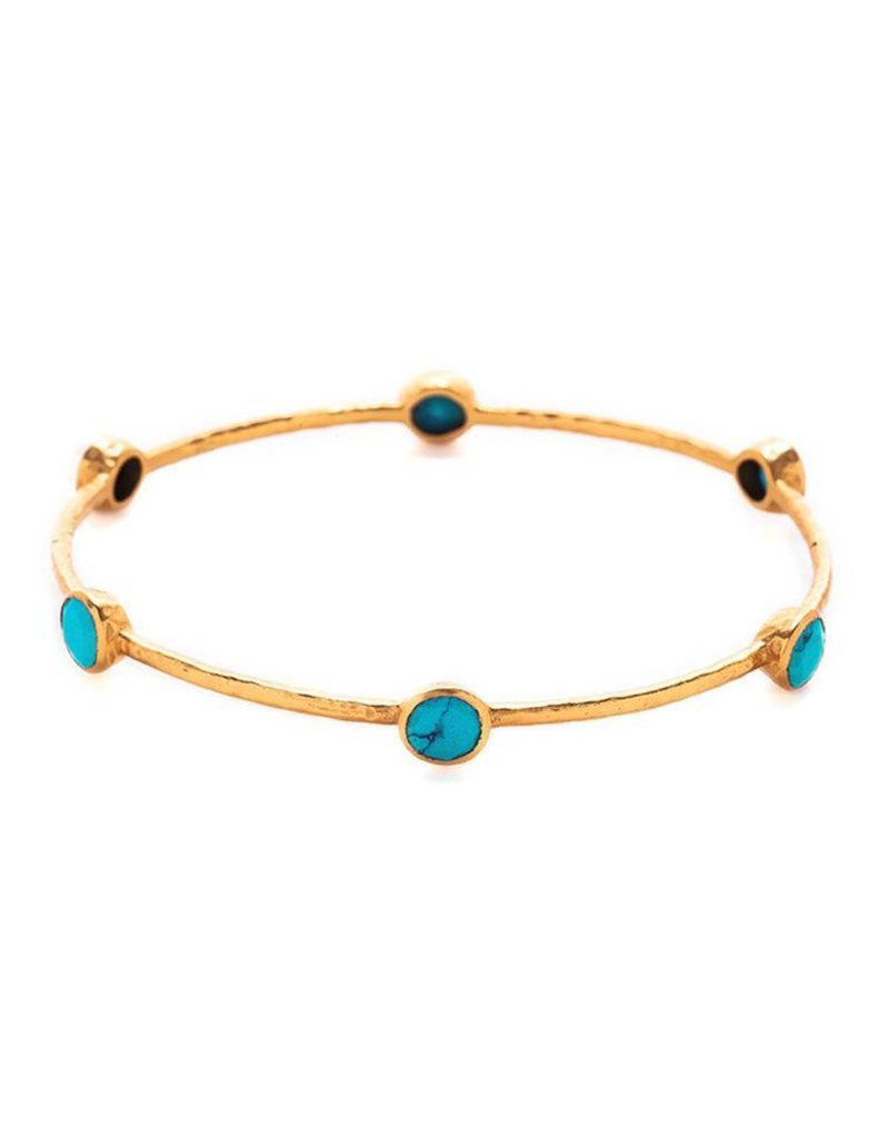 Milano 6-Stone Gold Turquoise  Bangle
