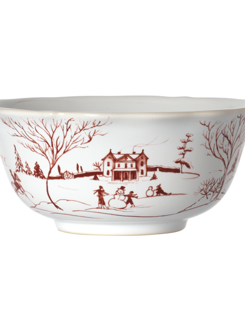 Juliska Country Estate Cereal/Ice Cream Bowl Winter Frolic Ruby