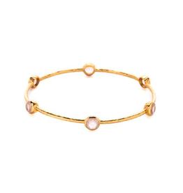 Milano 6-Stone Gold Rose Quartz Bangles