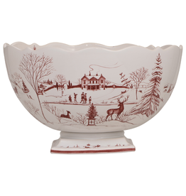 Juliska Country Estate Center Piece Bowl Winter Frolic, Christmas Celebration Ruby