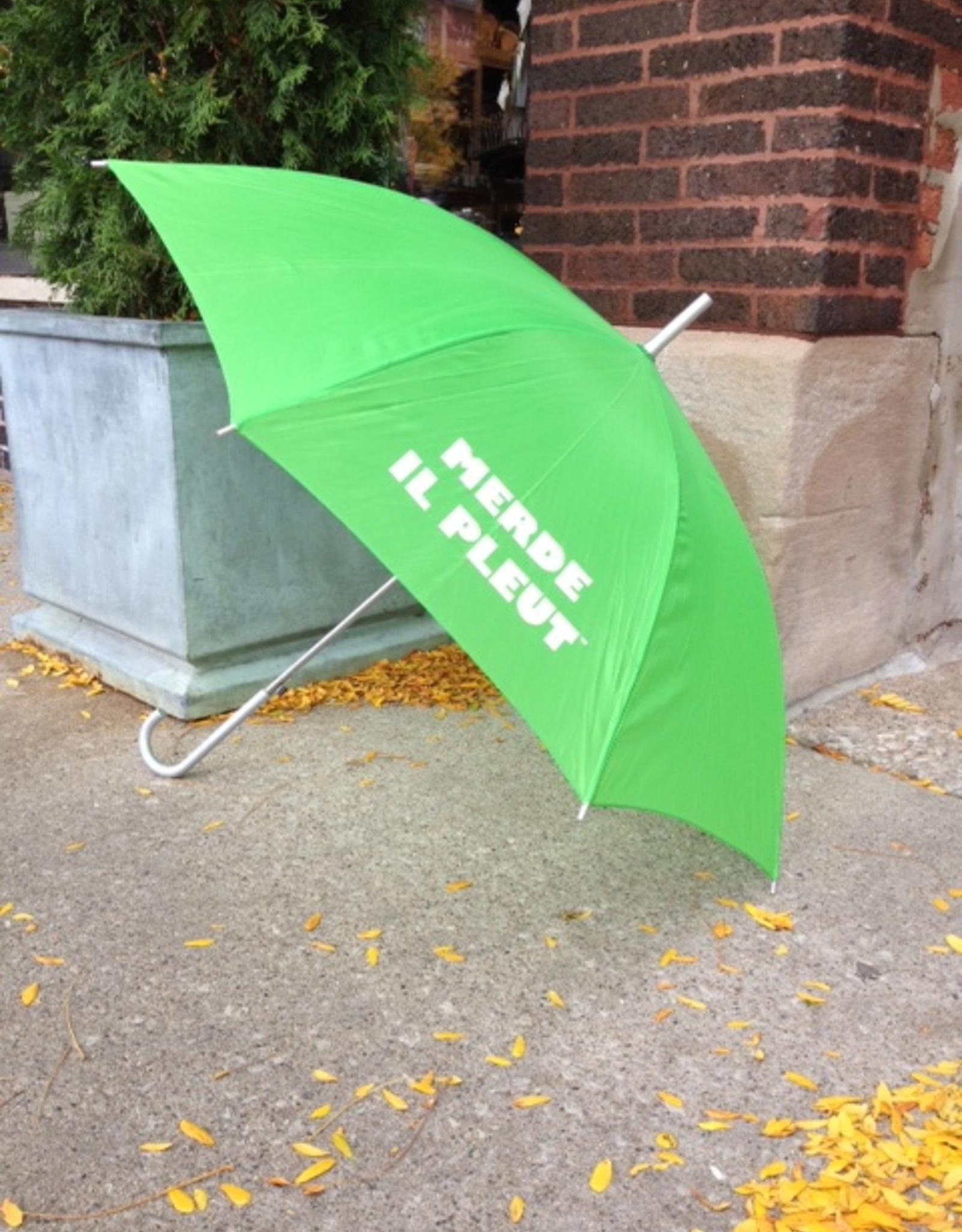 "CarefulPeach Boutique ""Merde Il Pleut"" Umbrella in Lime Green w/ White Text"