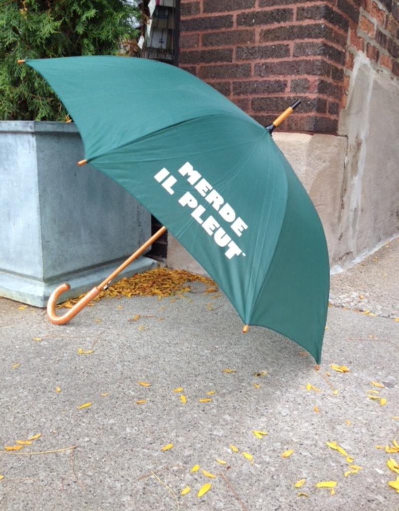 "CarefulPeach Boutique ""Merde Il Pleut"" Umbrella in Forest Green w/ White Text"