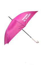 """CarefulPeach Boutique """"Merde Il Pleut"""" Umbrella in Hot Pink w/ White Tex"""