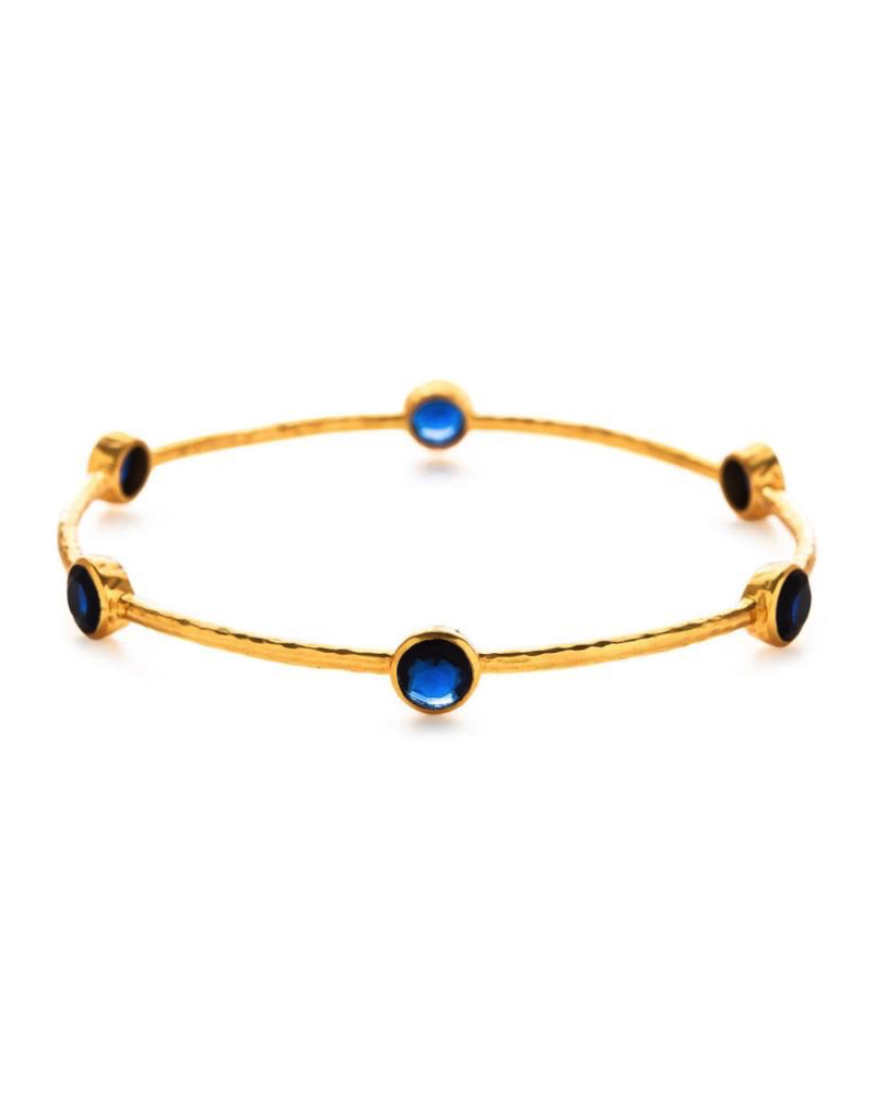 Milano 6-Stone Gold Sapphire Blue Medium Bangles