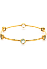 Milano 6-Stone Gold Aquamarine Blue Medium Bangles