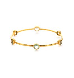 Milano 6-Stone Gold Aquamarine Blue Medium Bangles