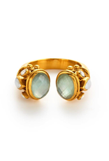 Byantine Ring in Gold with Aquamarine Blue and Pearl Size 8/9