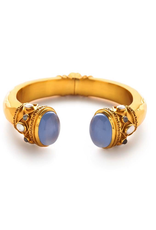 Greek Key Hinge Cuff Gold Chalcedony Endcaps with Pearls and Labradorite Accents