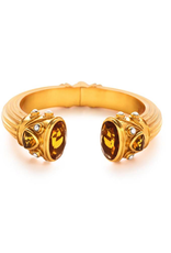 Byzantine Hinge Cuff Gold Citrine Yellow Endcaps with Citrine and Pearl Accents One Size