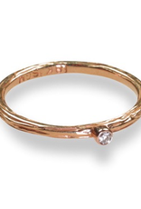 Rose Gold Pebbles Ring with .05 ct White Diamond, Size 6.5