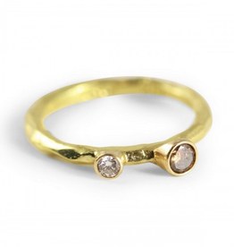 Gold 'Rouge' Ring with .05 ct White Diamond & .10 Cognac, Size 6