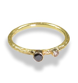 "Gold ""Pebbles"" Ring with .03 ct White Diamond & .10 ct Cognac Diamond"