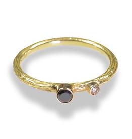 "Gold ""Pebbles"" Ring with .03 ct White Diamond & .10 ct Cognac Diamond"