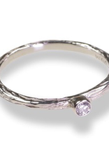 White Gold 'Pepples' Stacking Ring with 05. White Diamond, Size 6