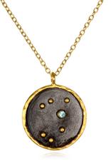 Large Sagittarius Zodiac Necklace-Blue Topaz