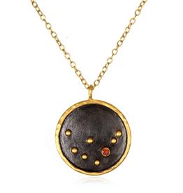 Large Capricorn Zodiac Necklace-Red Garnet