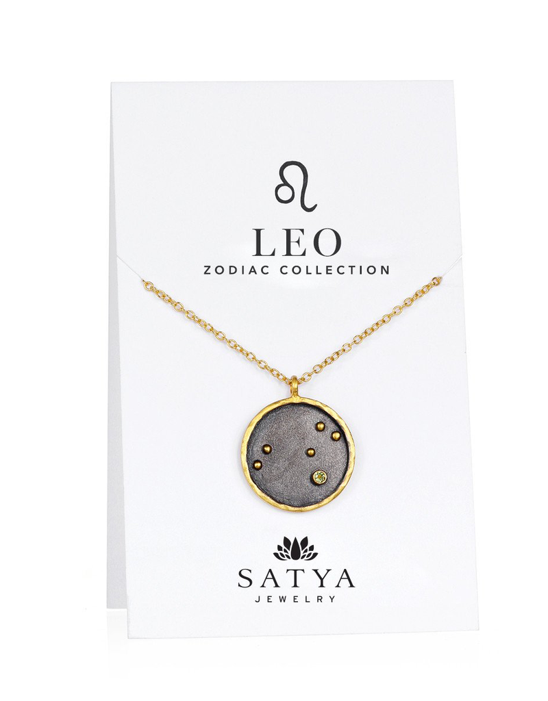 Large Leo Zodiac Necklace-Peridot