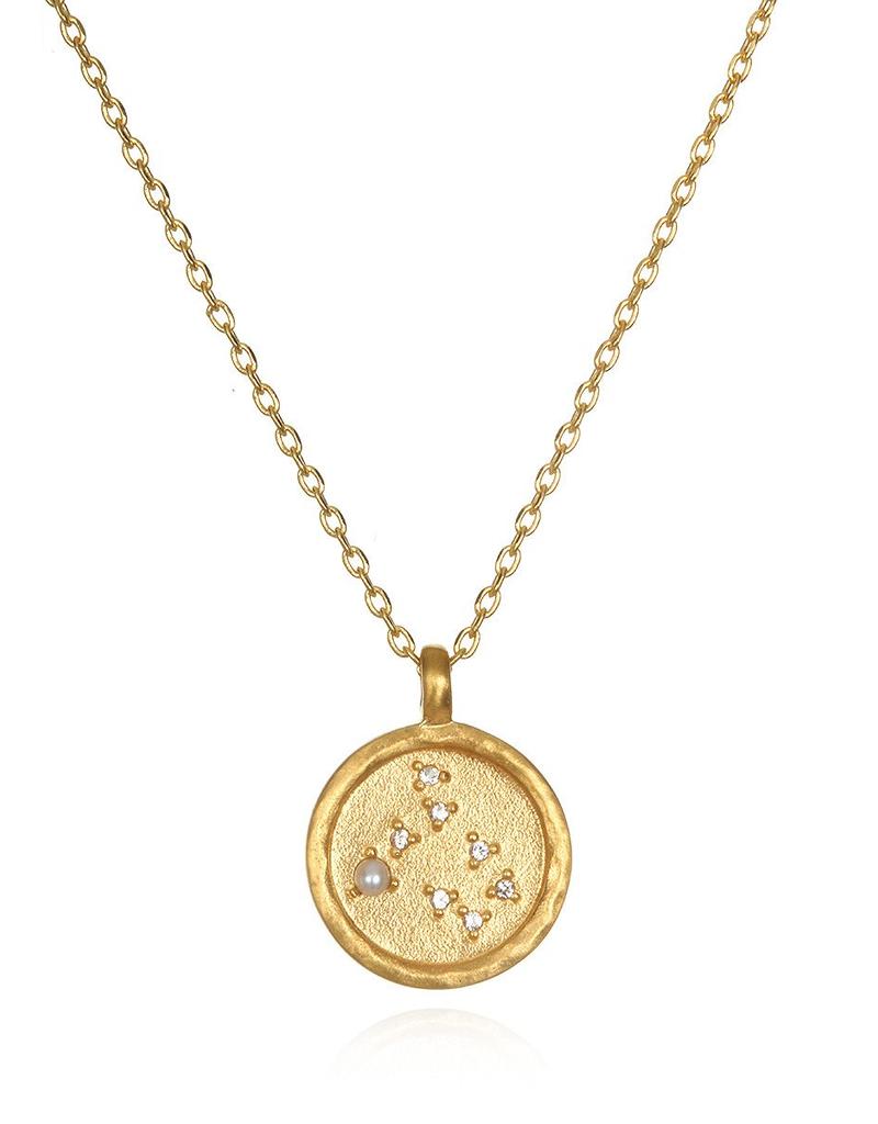 Gold Gemini Zodiac Necklace-Pearl