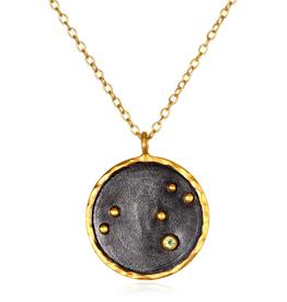 Large Leo Zodiac Necklace-Peridot