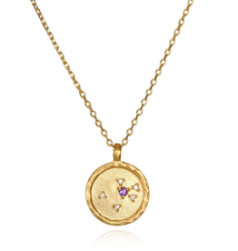 "Aquarius Zodiac Gold Necklace ""18"