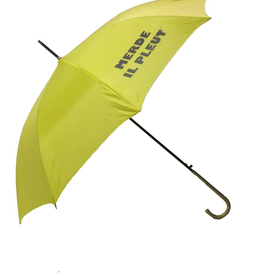 "CarefulPeach Boutique ""Merde Il Pleut"" Umbrella in Yellow w/ Black Text"