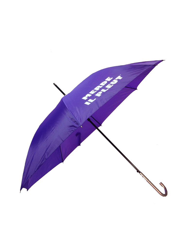 "CarefulPeach Boutique ""Merde Il Pleut"" Umbrella in Purple w/ White Text"