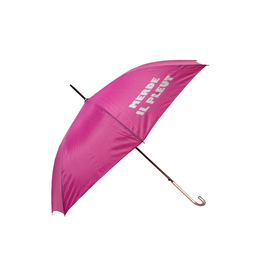 "CarefulPeach Boutique ""Merde Il Pleut"" Umbrella in Hot Pink w/ White Tex"
