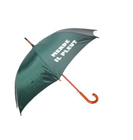 "CarefulPeach Boutique ""Merde Il Pleut"" Umbrella in Forest Green w/ White Text"