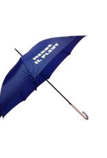 "CarefulPeach Boutique ""Merde Il Pleut"" Umbrella in Cobalt Blue w/ White Text"