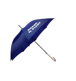 "CarefulPeach Boutique ""Merde Il Pleut"" Umbrella in Cobalt Blue w/ White Text"