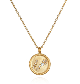 "Pisces Zodiac Gold Necklace ""18"