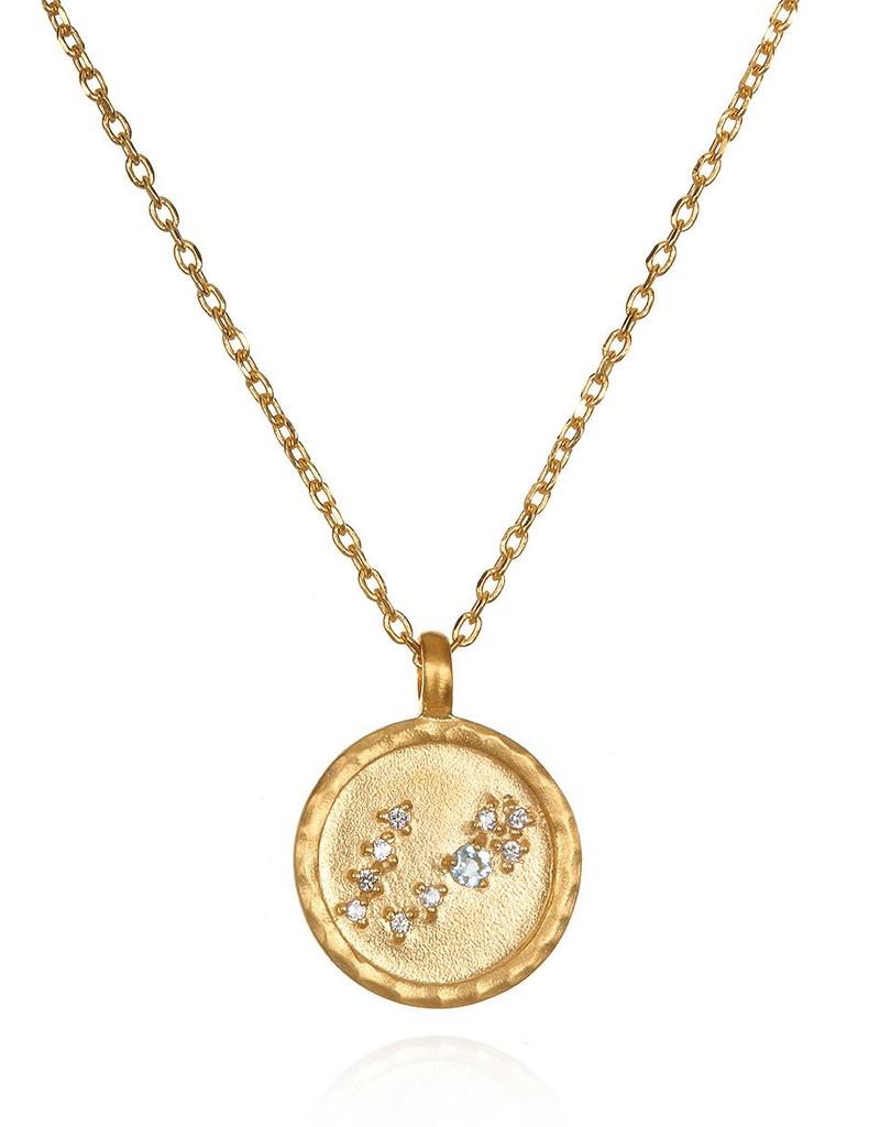 """Pisces Zodiac Gold Necklace """"18"""