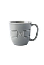 "Juliska Berry & Thread French Panel Stone Grey Cofftea Cup 12oz 3.75""W, 4""H"