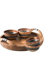 Juliska Stonewood Stripe 5 piece Appetizer Set Tray & 4 Bowls