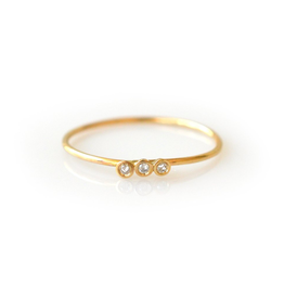 14KT Gold Diamond Trio Ring, Size 7
