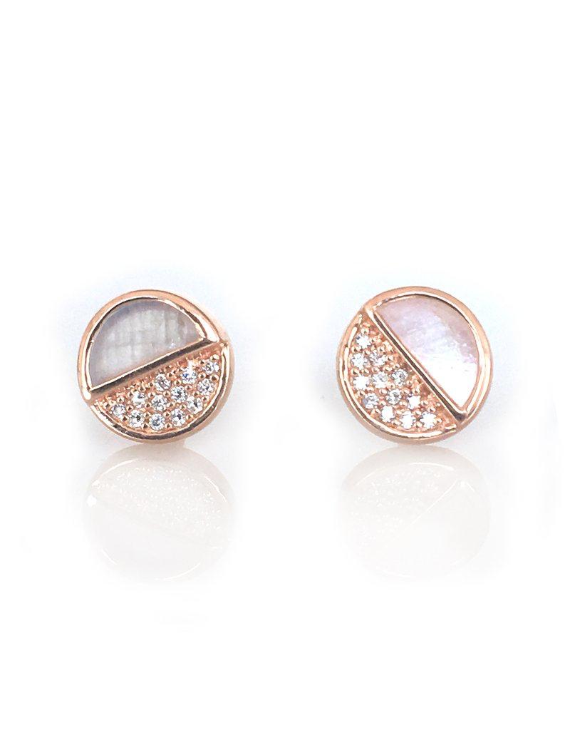 Rose Gold Diamond Moonstone Galaxy Studs
