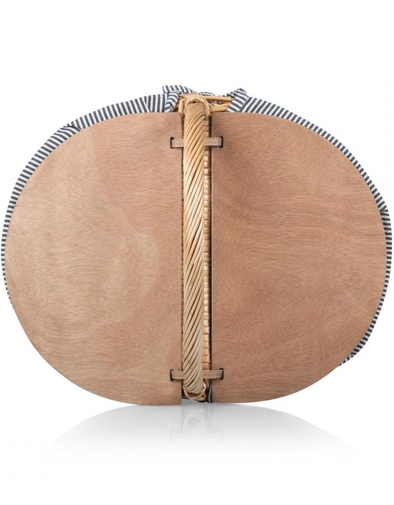 Country Picnic Basket in Navy & White Stripe