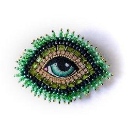 Celeste Mogador Celeste Eye Brooch  Green Small