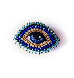Celeste Mogador Celeste Eye Brooch Dark Blue Small