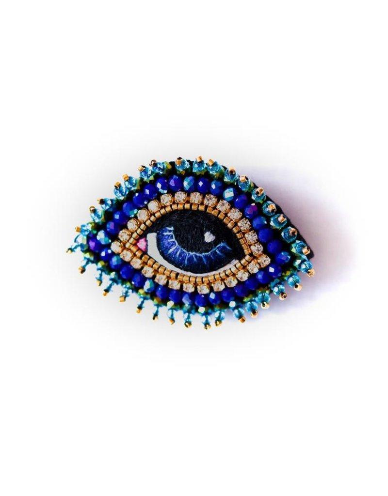 Celeste Mogador Celeste Eye Brooch Dark Blue Small