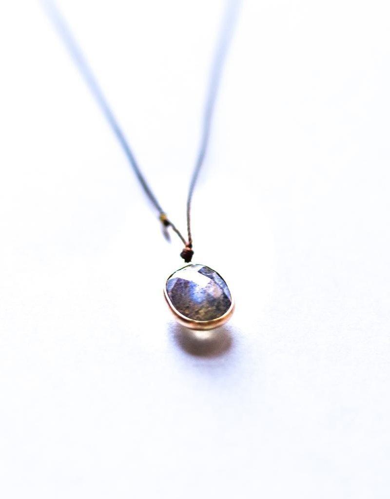 Labradorite w/ 14k Gold Bezel Necklace