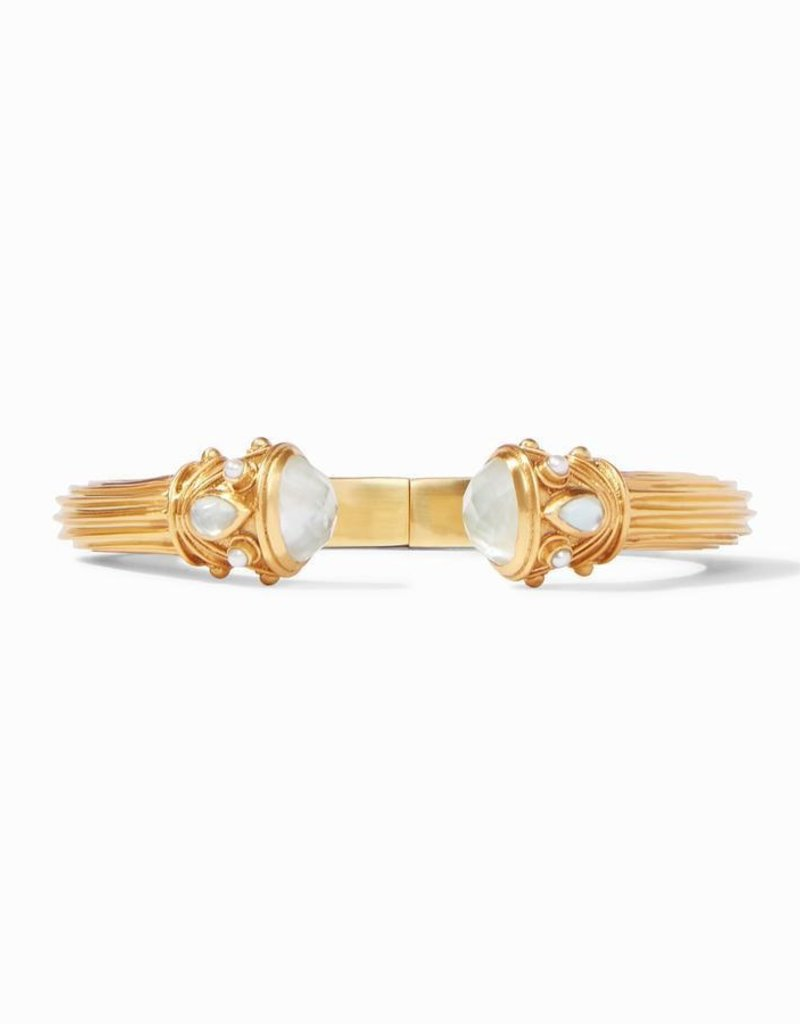 Byzantine Demi Hinge Cuff Gold Iridescent Clear Crystal Endcaps