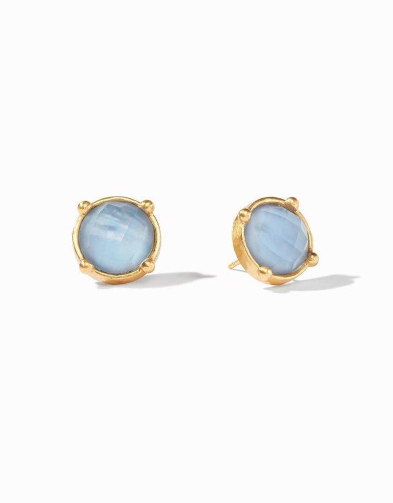 Honey Stud Gold Iridescent Chalcedony Blue Earrings