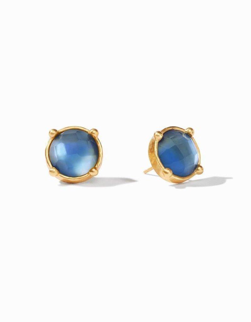 Honey Stud Gold Iridescent Azure Blue Earrings