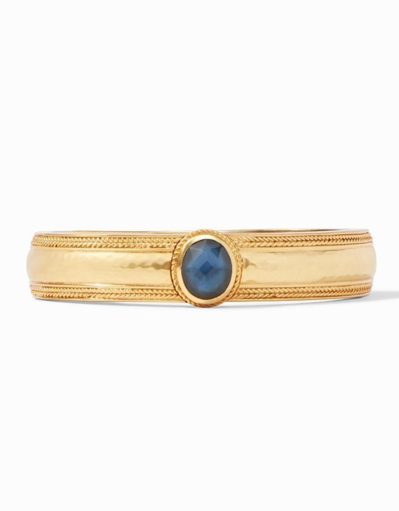 Coin Hinge Bangle Gold Iridescent Azure Blue